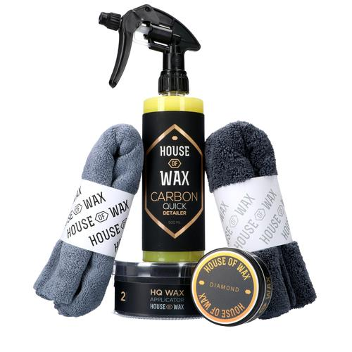 HOUSE OF WAX Zestaw do woskowania i pielęgnacji lakieru |Wosk, Quick Detailer, aplikatory i delikatne fibry